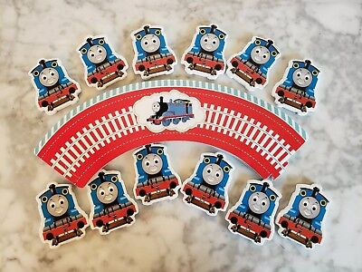 Thomas The Train Tank Engine Cupcake Wrappers & Toppers Kids Birthday Party 24pc - Thomas The Train Cupcake Toppers