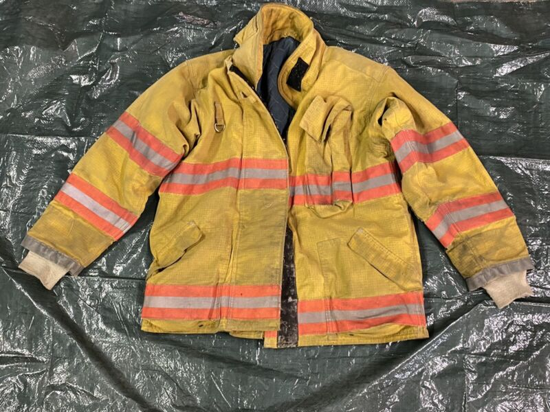Vintage Quaker Firefighter Bunker Turnout Coat 44 Chest Jacket Gear