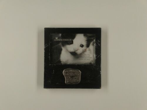 "Curious Kitty Picture Frame Tabletop Black Wood Pewter Plaque 5"" x 3.5"" Picture"