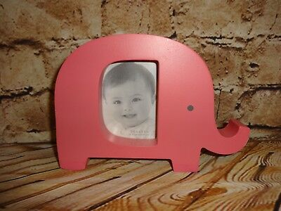 """Carter's Picture Photo Frame Pink Elephant Standing Stands 2.5"""" x 3.5"""" Pic Area"""