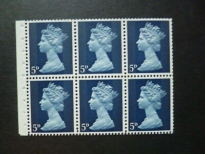 GB MACHIN PRE-DECIMAL 1968 5d 2B PANES OF 6 BLUE IE(B) PERF.