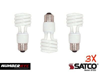 3 Light Medium Base (3 Natural Light Bulb 15W Medium Base Mini Spiral 5000K Replaces 60W Energy Saver)