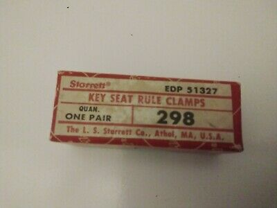 Vintage Pair Starrett Machinist No. 298 Key Seat Rule Clamps In Original Box