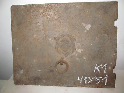 schönes Gusseienbild Kunstguss Ofenplatte  Gusseisen Bild Frau 51 cm breit 41 h