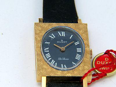 Solid Gold 18K 750 Watch Vintage Duxot NOS Blue Roman Face Swiss Made Rare
