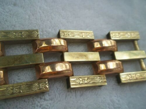 FABULOUS ART DECO etched wide link GOLD FILLED yellow & rose gold tone BRACELET