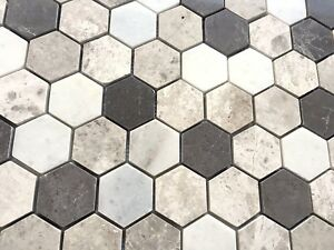 Carrara Gray Mix 2 Hexagon Marble Mosaic Wall And Floor Tile Geometric Kitchen