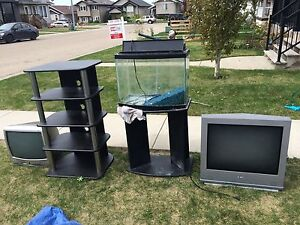 Fish tank, 2 tvs and tv stand