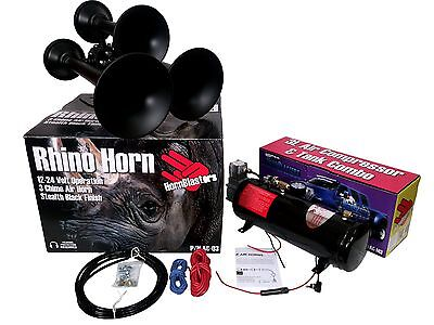 Hornblasters Rhino 12v 3Liter Black Train Horn Kit Stop you in your tracks LOUD!