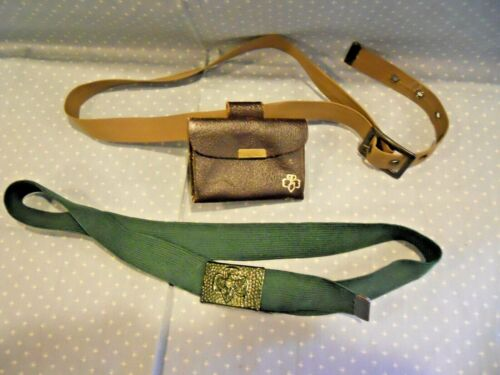 LOT OF 2 VTG GIRL SCOUT BELTS~STRETCH WEB W/BUCKLE & FABRIC W/ POUCH