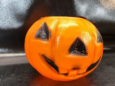 "Vtg Halloween Trick Or Treat Bucket Pail Bayshore 4.5"" Pumpkin blow mold"