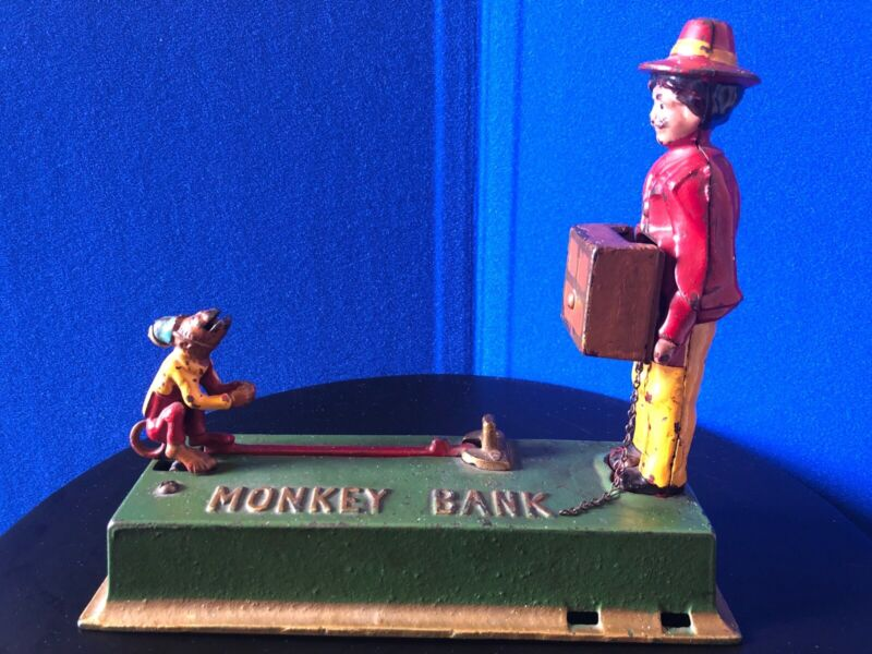 "Hubley Cast Iron Mechanical Bank ""Monkey & Organ Grinder"" Circa 1925"