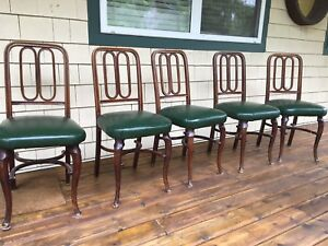 5 Antique Cherrywood Dining Chairs