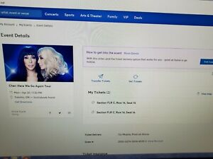 2 TICKETS TO CHER CONCERT at SCOTIABANK ARENA April 22, 2019