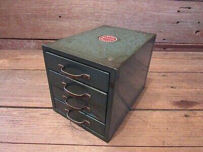 Vintage Industrial Small Steel Metal File Cabinet 4-drawer Desk File Steampunk