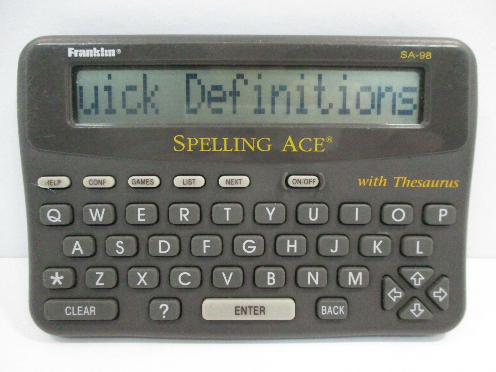 Franklin Spelling Ace W/ Thesaurus Merriam Webster SA-98 -Tested & Working