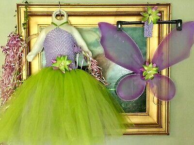 8 PC Set Green Purple Tinker Bell Costume Tutu Fairy Wing Handmade Halloween USA
