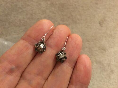 Antique  old cut large real diamonds silver ear hooks  earrings