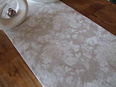Tischläufer, Rechteckig, Natur mit Rosenmuster in Creme, Baumwollmischung - Creme Baumwolle Mischung
