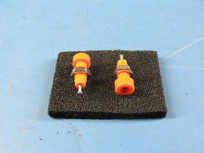 2pcs Orange Insulated Panel Mount Test Lead Pin Jacks Test Points Whardware