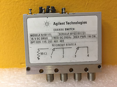 Agilent N1811tl-020-115-202-401-403 Dc To 20 Ghz 15 V 4 Port Coaxial Switch