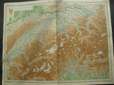 1922 SWITZERLAND MAP, TIMES ATLAS,BARTHOLOMEW,EDINBURGH,FREEPOST UK