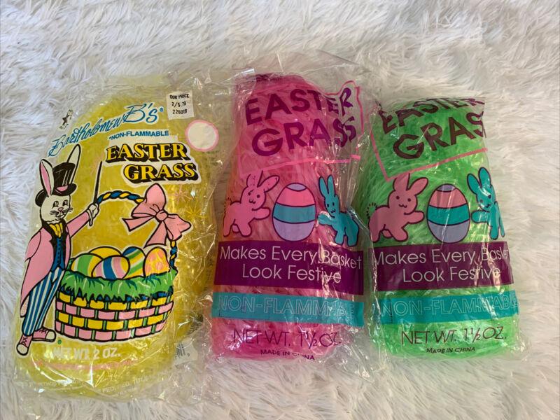 LOT Of 3 Easter Grass Yellow Pink Green Basket Filler Egg Hunt Shinny