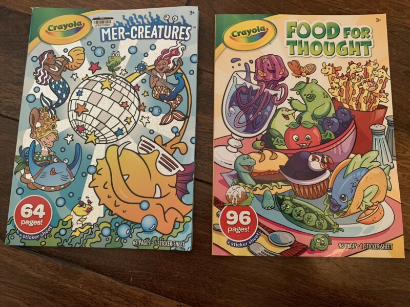 Crayola Food For Thought and Mer-Creatures coloring books w/ stickers