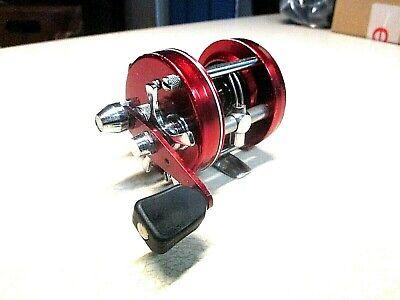 ABU GARCIA AMBASSADEUR FISHING REEL - RED 5000 W/ CLICKER  - CLEAN & WORK GREAT