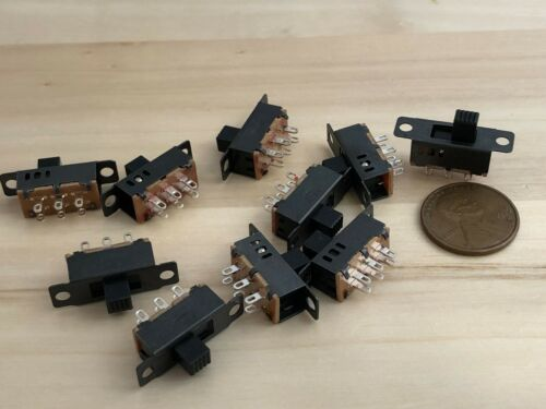 10 pieces Mini SPDT Slide Switch On-Off-on PCB 6P 23.3*7.3MM pitch row 19MM c28