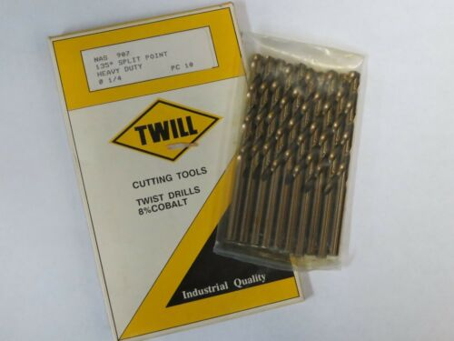 "10 pcs TWILL 1/4"" Jobber Length Twist Drills bits Cobalt 135 Degree Split Point"