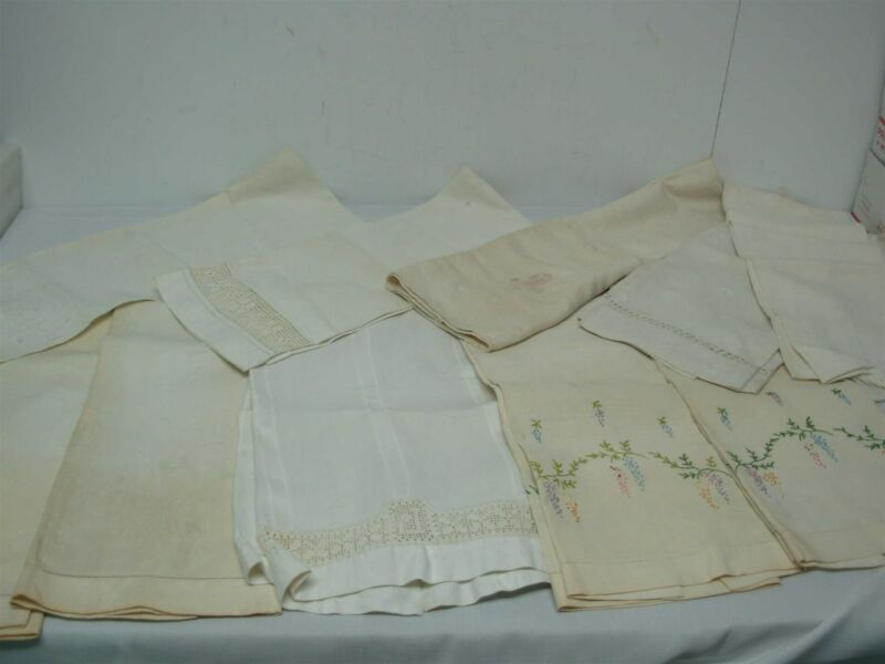10 ANTIQUE LINEN BATH TOWELS ~ DAMASK & EMBROIDERED FLOWERS