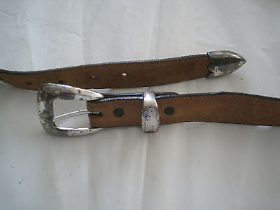 SENTRY Mens Belt Brown Leather Golf Style Silvertone Metal Buckle-Size 42