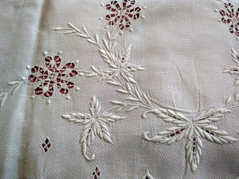 Fantastic Italian / Irish  Huck Linen Needle Lace, Embroidered  Show Towel 48""