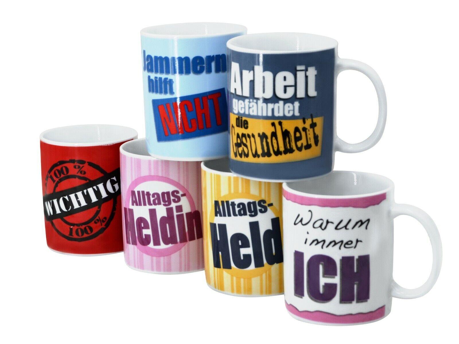Kaffeebecher SPRÜCHE LABEL Set 6-tlg. bunt farbig 6 Dekore Porzellan Tassen Tee