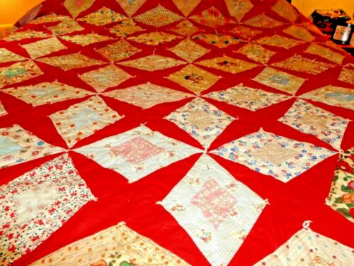 Beautiful Antique Handmade  quilt great bright colors