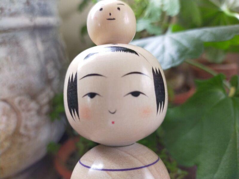 New Japanese wooden doll kokeshi baby snow man on head kakizawa Yoshinobu