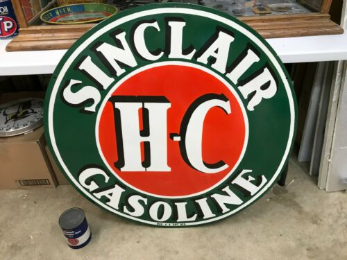 """""""SINCLAIR HC GASOLINE"""" X-LARGE, HEAVY PORCELAIN DEALER SIGN (36"""" INCH) NEAR MINT"""