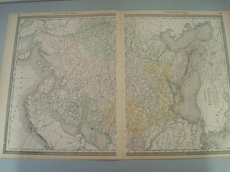 RARE 1888 ANTIQUE MAP OF EUROPAN RUSSIA