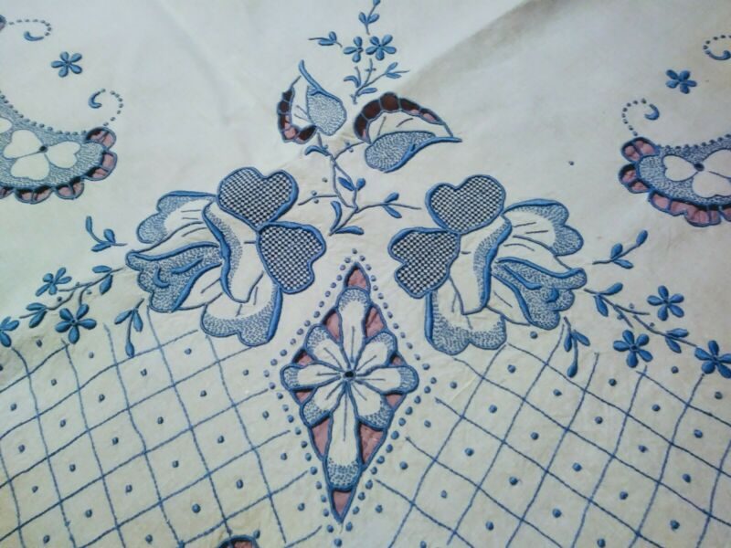 """Amazing Fine Blue Rose  Embroidered & Cutwork White Madeira Linen Tablecloth 48"""""""