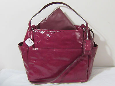 COACH Stitched Patent Leather DIAPER BABY CARRY ON MULTIFUNCTION Tote Bag F25141