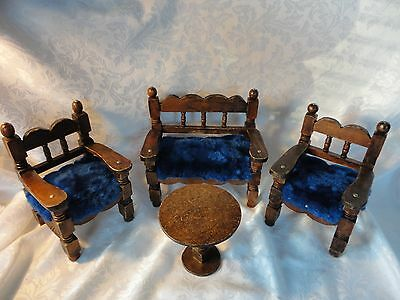 Vintage/RETRO/ large Doll Furniture Wooden Set Upholstered Couch Chair Table