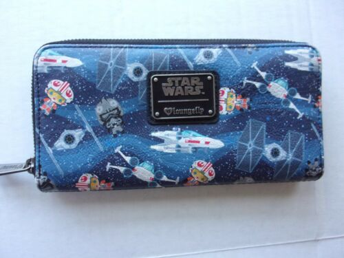 Loungefly Disney Star Wars Chibi/Ships Faux Leather Zip Around Accordion Wallet
