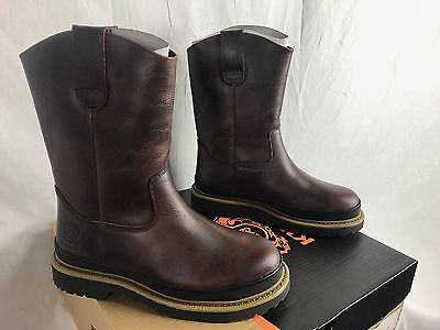 NEW KINGS WELTED RIGGER STEEL TOE BOOTS LEATHER MENS 8-14 WORK PULL ON FREE SHIP