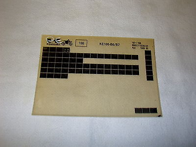 KAWASAKI KE100 KE 100 B6/B7 GEN PART CATALOGUE MICROFICHE