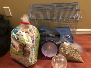Hamster or gerbil cage and accessories