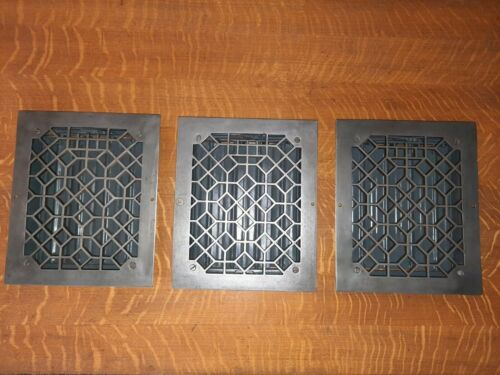 3 Antique Cast Iron Heat Registers, Complete with Louvers