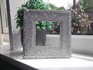 SILVER GLITTER WITH CRYSTALS LIGHT SWITCH SURROUND PLATE NEW FITS OVER WALLPAPER