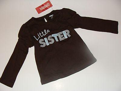 Gymboree Girls Best Friend Girls Size 2T Top Shirt Little Sister Brown NEW