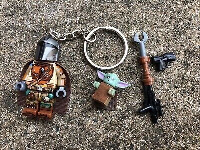 Star Wars The Mandalorian & Baby Yoda Keyring Keychain Minifigure UK SELLER